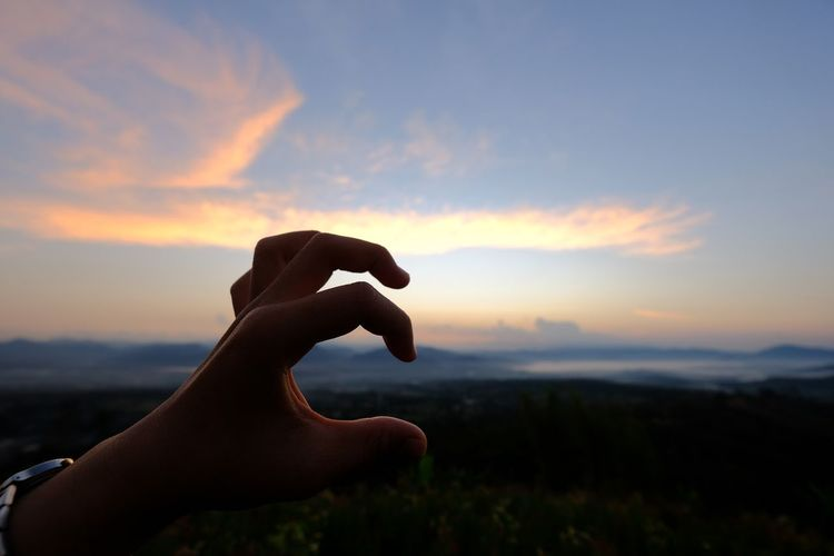 Silhouette hand gesturing against sky during sunset