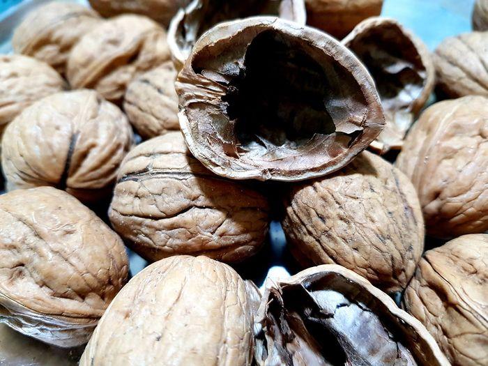 nuts Walnuts Walnut Shells Full Frame Nutshell Close-up Shell Abundance Large Group Of Objects Pile
