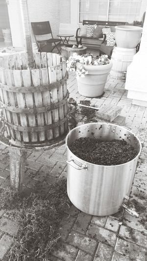Wine making Arizona Mesa Winemaking Grapes Barrel Can Aluminum Close-up Bucket