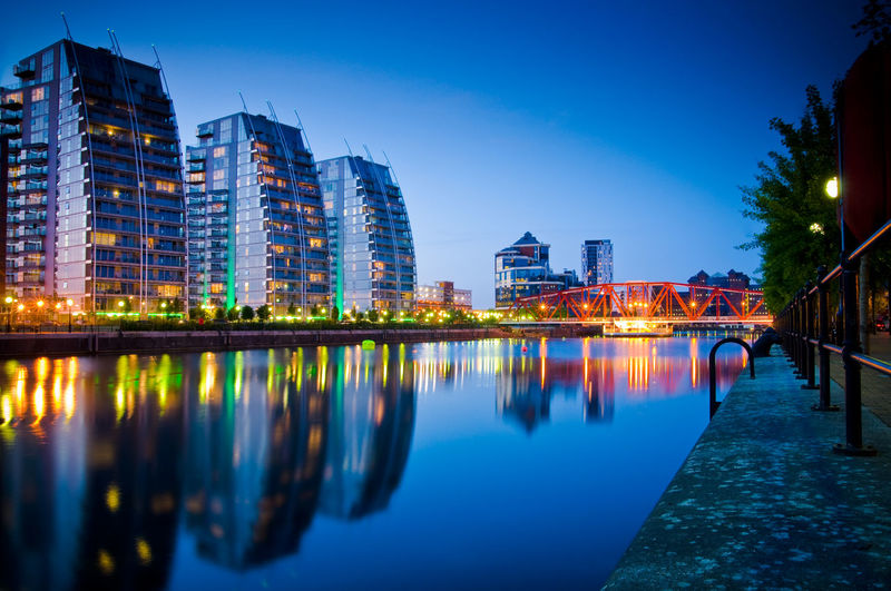 Modern building in Saford Quays, Manchester. Architecture Beauty In Nature Bridge Canal City Cityscape Illuminated Manchester UK Night River Salford Quays Water Waterfront
