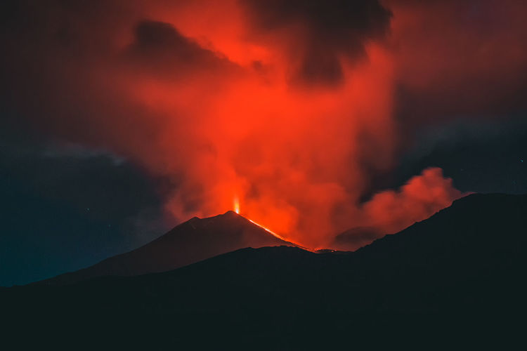Volcano Etna eruption Mountain Volcano Geology Smoke - Physical Structure Erupting Lava Power In Nature Power Beauty In Nature Sign Warning Sign Active Volcano No People Land Heat - Temperature Night Communication Environment Scenics - Nature Glowing Mountain Range Volcanic Crater Outdoors Mountain Peak Etna