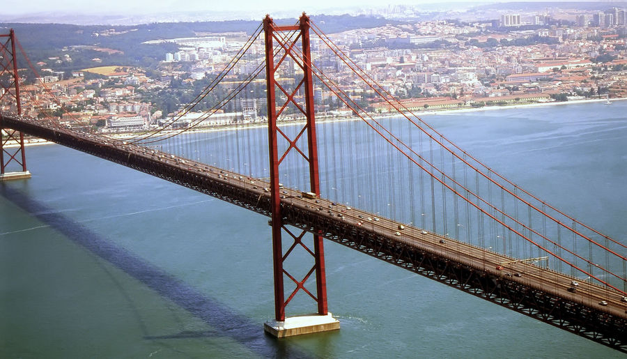 April 25th bridge over river in city on sunny day