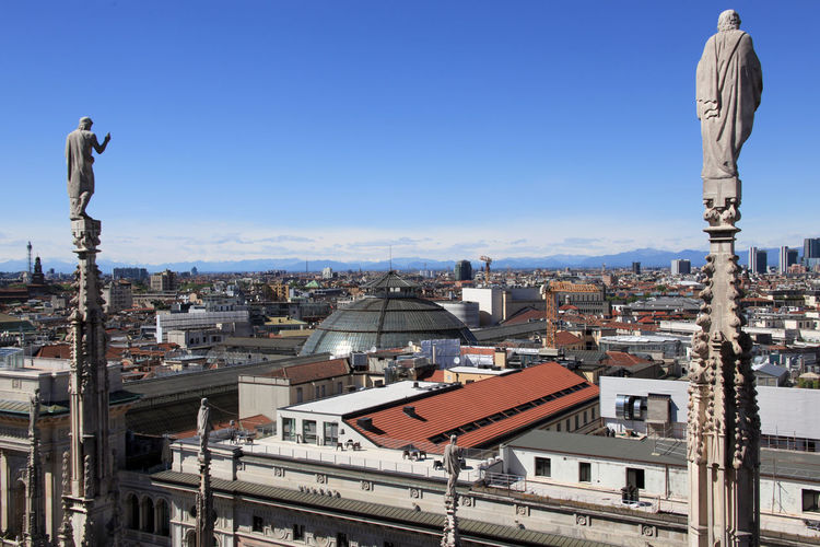 High angle view of cityscape seen from duomo di milano against sky