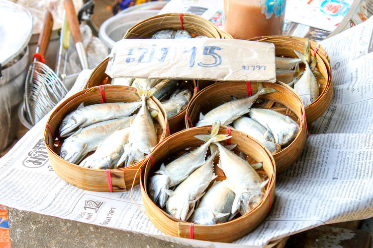 Close-up of salted fish for sale at market stall