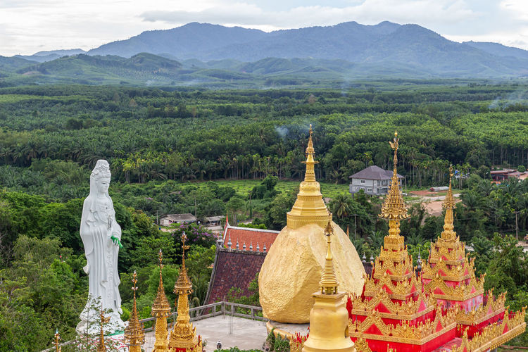 Panoramic view of buddha statue on mountain