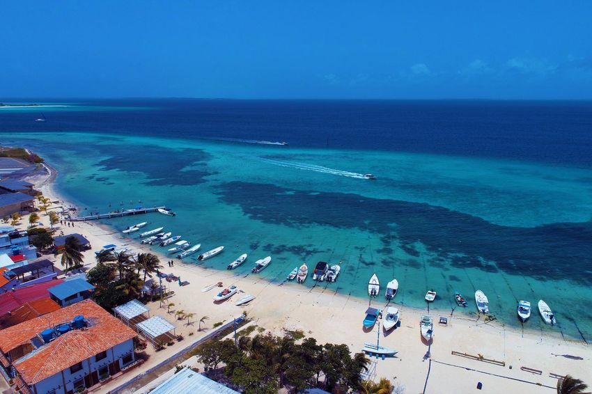 Aerial view of island and beach in Los Roques, Venezuela Sea Water Beach Horizon Over Water High Angle View Land Horizon Scenics - Nature Nature Sky Day Beauty In Nature Blue Large Group Of People Group Of People Holiday Vacations Transportation Travel Destinations Outdoors Turquoise Colored Swimming Pool Los Roques Madrisqui Caribe Caribbean Caribbean Life Caribbean Island Francisqui Crasqui Carenero's Beach Cayo De Agua Venezuela