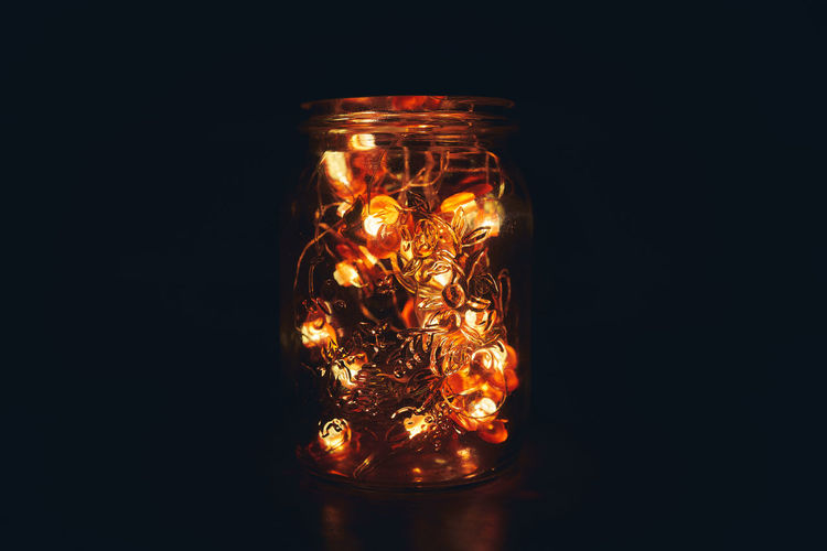 Black Background Glass - Material Studio Shot Illuminated Indoors  Glowing Transparent Container Close-up Jar Dark No People Copy Space Candle Lighting Equipment Fire Single Object Burning Decoration Still Life Luxury Light And Shadow