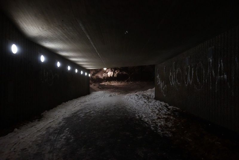Illuminated The Way Forward No People Tunnel Night Snow Stockholm