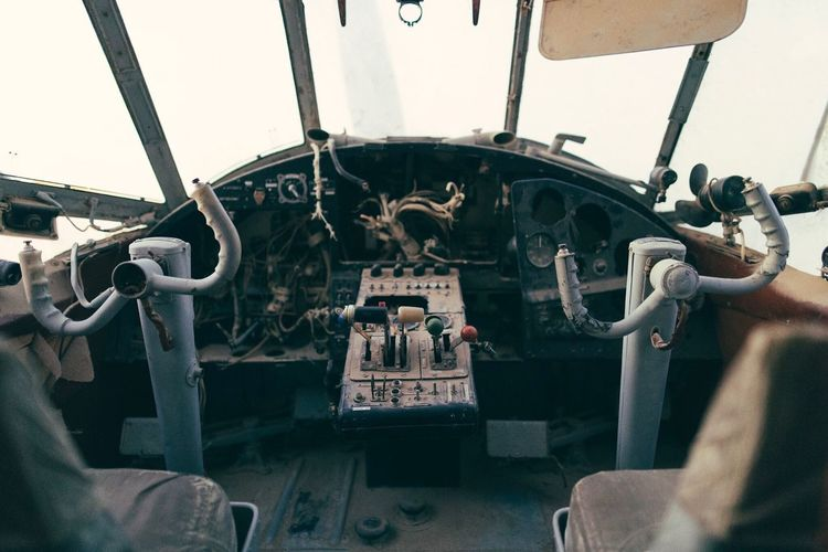 Indoors  No People Low Angle View Day Sculpture Statue Cockpit Plane Abandoned Abandoned Plane