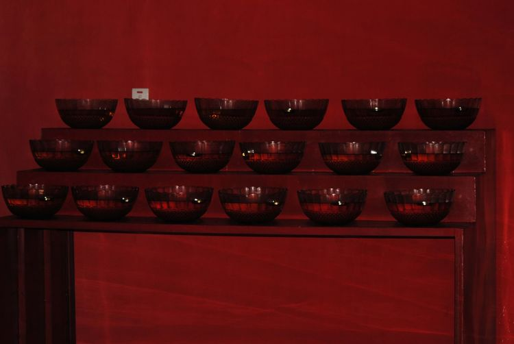 Arrangement Bowls Cellar Close-up Illuminated In A Row In A Row Indoors  Minimalism Neat No People Red Reds Repetition Shades Of Red Shelf Wine Cask