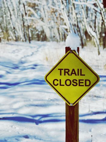 Snow Winter Cold Temperature Weather Nature Day Warning Sign Text Communication No People Outdoors Close-up Beauty In Nature Sky Road Sign