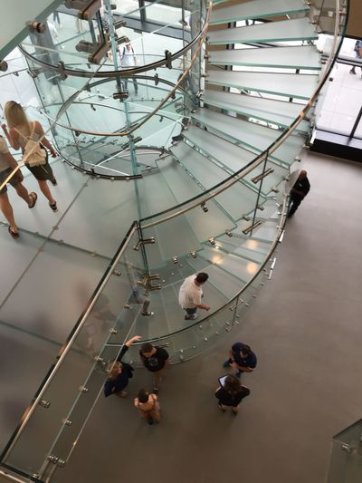 looking down from the third floor on the glass stairway at 14 th st Apple Store nyc Aerial Shot Applestore Stairways Onlyinnyc Iloveapple