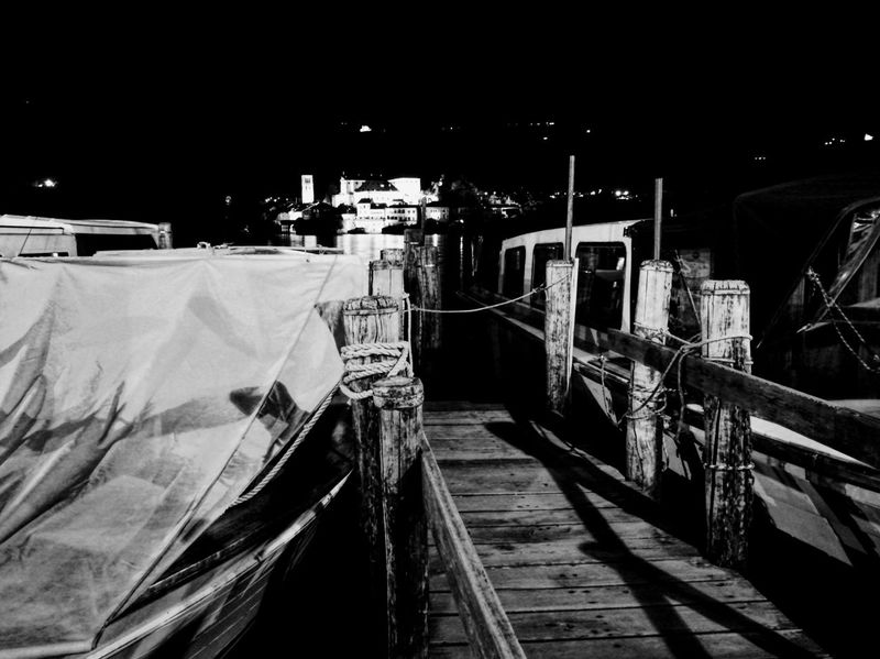 Deck Harbour View Harbour Island Boat Deck San Giulio Island Orta Lake Orta S.Giulio Black & White Miles Away