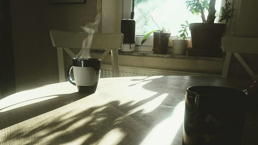 View of coffee cup on table