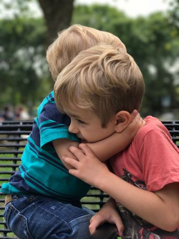 EyeEm Selects Childhood Boys Real People Casual Clothing Elementary Age Lifestyles Leisure Activity Day Outdoors One Person Blond Hair Brothers Brotherly Love This Is Family