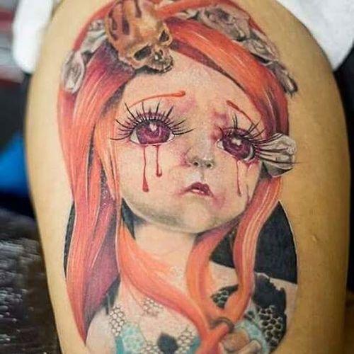 Crying lady Tattoo ... Portrait Human Eye Tattoo Tats Inked Skinart Sadness Tears