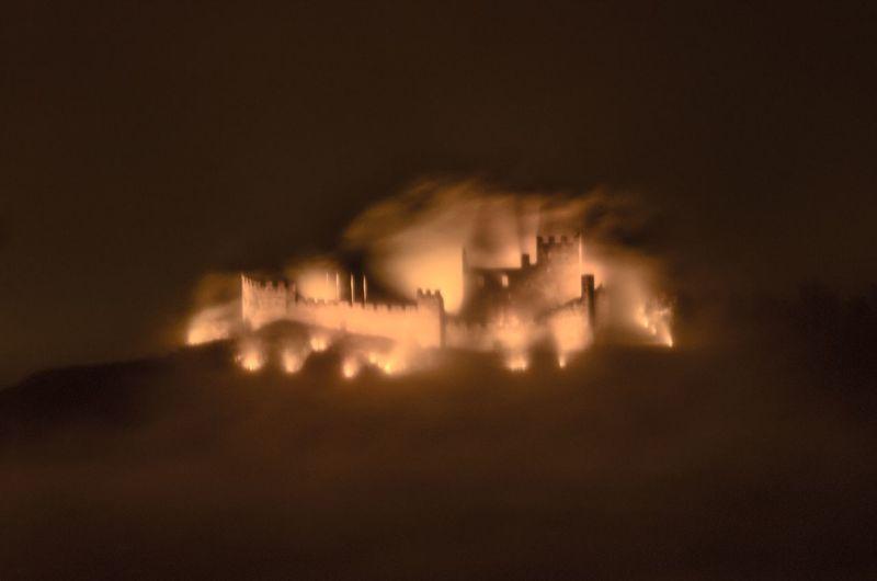 Tourbillon in the fog Arts Culture And Entertainment Illuminated Night Scenics Architecture Castle