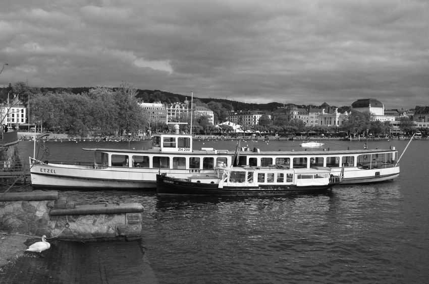 Black & White Harbor Nature Transportation Beauty In Nature Black And White Cloud - Sky Darkness And Light Fujifilm_xseries High Contrast Incidental People Lake Lake View Lake Zürich Mode Of Transport Monochrome Moored Motor Boat Nautical Vessel Outdoors Red Filter Travel Destinations Water Waterfront