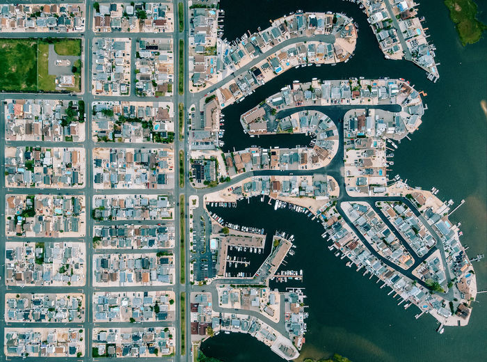 Aerial view of homes and boats at the jersey shore
