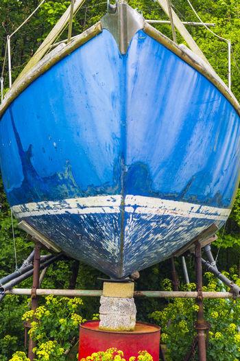 Blue Boat Colorful Dry Docked Boat Hull Industar61 Nautical Vessel Nex-5 Repair Ship