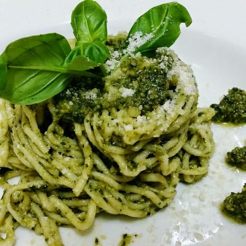 Foodphotography Italian Food Spaghetti <3 Pesto Alla Genovese Yummy Food Homemade Enjoy A Meal Pictures By Me Green Color Eyemfoodphotography OMG!!!!  Serving Size Eyeemfoodlover Welcome To My Eyeem Healthyfood Baked Table Original Pesto Loveforfood Eyeemphotography Colours Pesto Sauce Basil