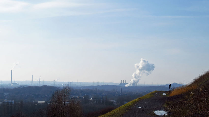 Gelsenkirchen Lookout Outlook Panorama Ruhrgebiet Ruhrpott Skyline Taking Photos Taking Pictures View Vista Air Pollution Chimney Emitting Factory Fumes Industrial Landscapes Industrial Skyline Industry Landscape One Person Photographing Pollution Smoke - Physical Structure Smoke Stack