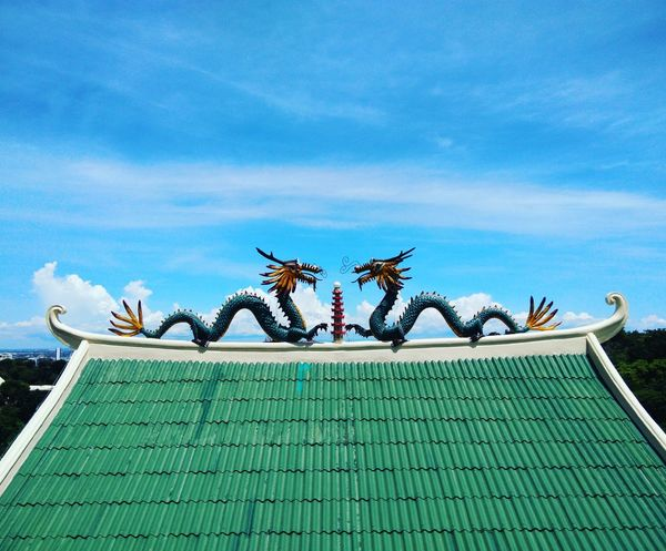 Animal Representation Creativity Art And Craft Day No People Roof Sculpture Outdoors Sky Dragon Statue Cebu City TaoistTemple