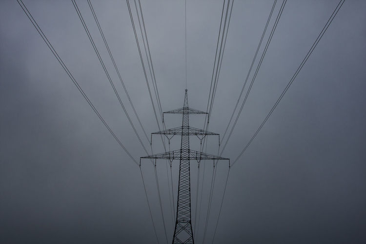 Autumn Cable Connection Day Electricity  Electricity Pylon Fog Foggy Fuel And Power Generation Grey Grey Sky Low Angle View No People Outdoors Power Line  Power Supply Power Train Path Sky Technology