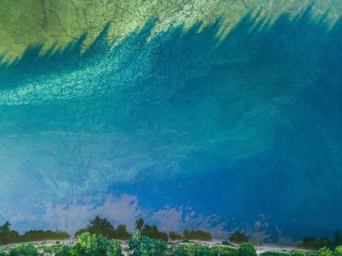 Water colors | Blue Nature Backgrounds Beauty In Nature No People Outdoors Water Scenics Day Water Colors Mavic Mavic Pro Drone  Kaunas Lagoon Lietuva Top Down View Birds Eye View The Week On EyeEm