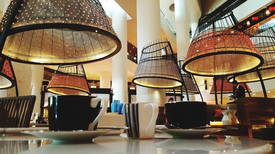 Cones & Cuppa Coffee Coffee - Drink Food And Drink Hanging Arrangement Close-up Electric Light Light Fixture Lighting Equipment Ceiling Light