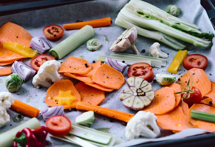 High angle view of chopped vegetables