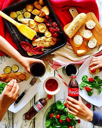 Human Hand Directly Above High Angle View Food And Drink Eating Dinner Domestic Life Friendship Human Body Part Togetherness Indoors  Food Healthy Eating People Table Women Adults Only Adult Prepared Potato Men Coco Cola