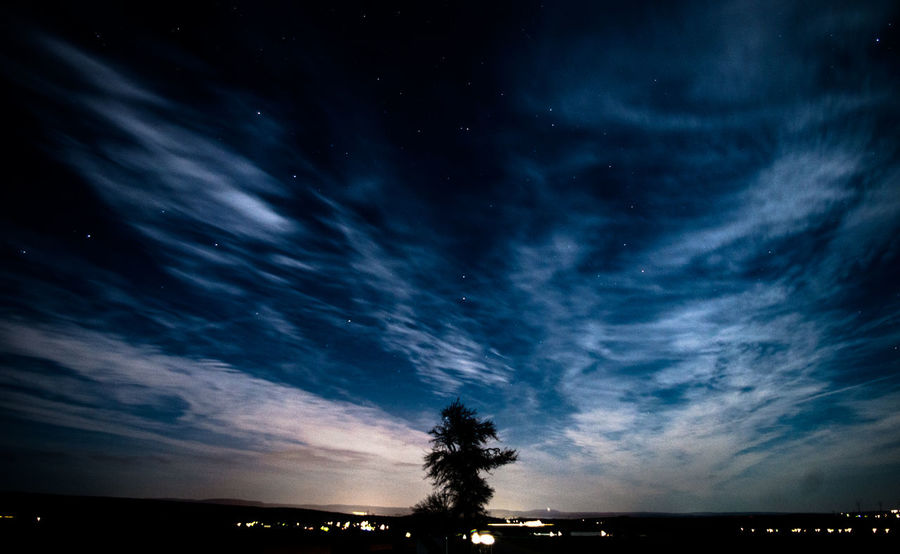 Astronomy Beauty In Nature Cloud - Sky Nature Night No People Outdoors Scenics Silhouette Sky Star - Space Tranquil Scene Tranquility Tree