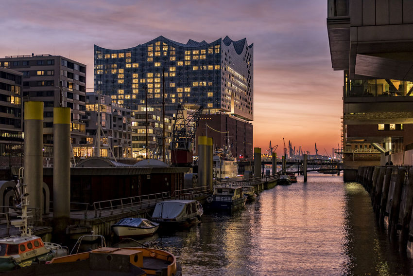 Elbphilharmony Adapted To The City Architecture Bridge - Man Made Structure Business Finance And Industry City Cityscape Elbe River Elbphilharmony Europe Hafencity Hamburg Hamburg Harbour Night Nightlife No People North Germany Outdoors Scenics Sky Skyscraper Sunset Travel Travel Destinations Urban Skyline Vacations Water Reflections