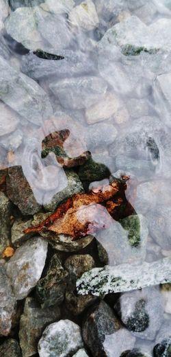 Full frame shot of frozen rocks