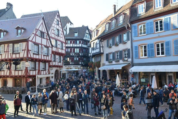 Large Group Of People Crowd Building Exterior City Life City Architecture Day Business Store Built Structure People Modern Outdoors Adult Adults Only Sky Colmar Colmar, Alsace, France Architecture Nikonphotography France