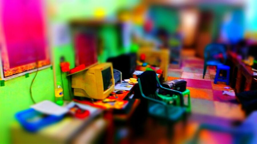 When I took this scene image of DTP office I was using my phone ( SINGTECH _ Infinity i-Note ) Camera HDR app & Tilt-Shift app. Tilt And Shift