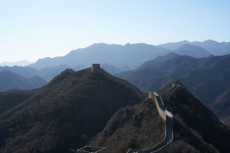 Scenic view of great wall of china against clear sky