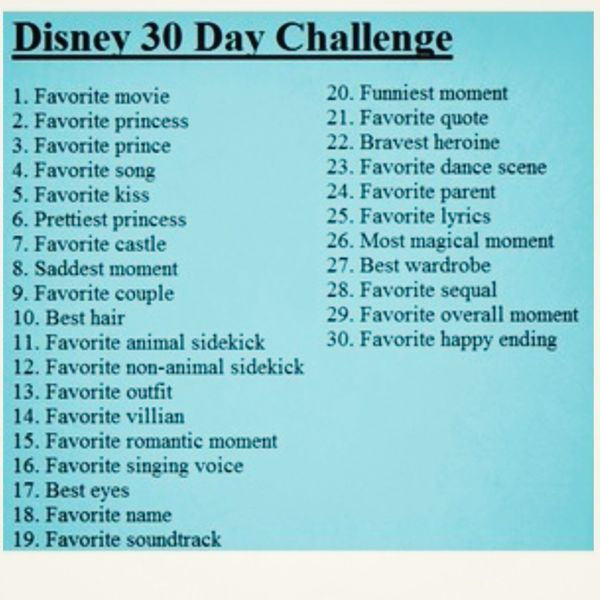 So I'm going to do the Disney Challenge for the next 30 days Disney 30 Challenge