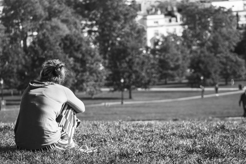 A moment of peace One Person Real People Sitting Person Outdoors One Woman Only Young Adult Horizontal Nature Grass Tranquil Scene Blackandwhite Black & White Urban Exploration Urbanphotography