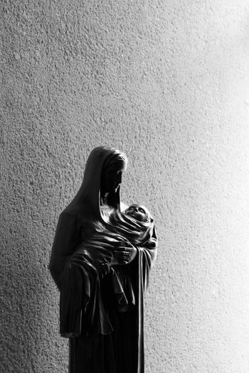 Mary Black And White Monochrome Light And Shadow Jesus Church