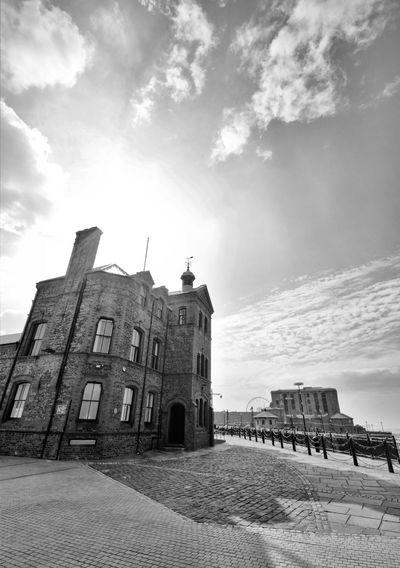 Pier Head Albert Dock Liverpool Docks Liverpool, England Merseyside Docks Waterfront Albert Docks Buildings & Sky