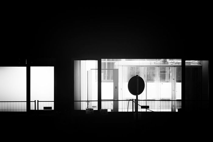 Film school III Window Architecture Built Structure No People Dark Copy Space Silhouette Building Communication Shape Geometric Shape Circle Sign Domestic Room Glass - Material