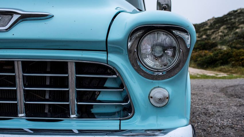 Transportation Headlight Land Vehicle Mode Of Transportation Motor Vehicle Car No People Day Metal Close-up Retro Styled Vintage Car Outdoors Blue Focus On Foreground Nature Lighting Equipment Old Stationary Chrome
