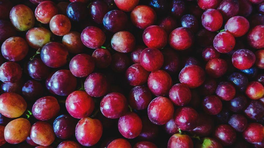 Full frame shot of red grapes