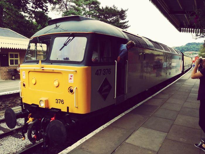 Class 47 locomotive Sulzer Britishrail Public Transportation Train - Vehicle Railroad Station Platform Railroad Track Sky