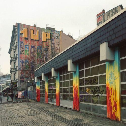 Multi colored buildings in city