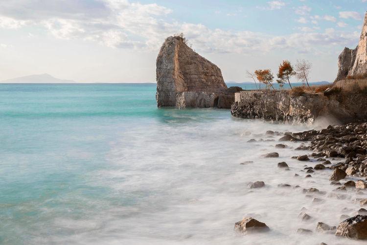 View of sorrento coast rocks