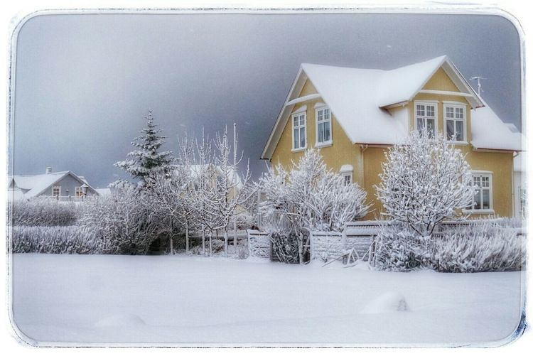 Snow covered houses in winter