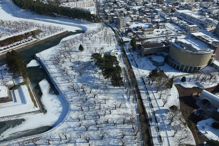 High Angle View Architecture Built Structure Outdoors Building Exterior Architecture Cold Temperature Snow Winter Buildings Architecture Hakodate